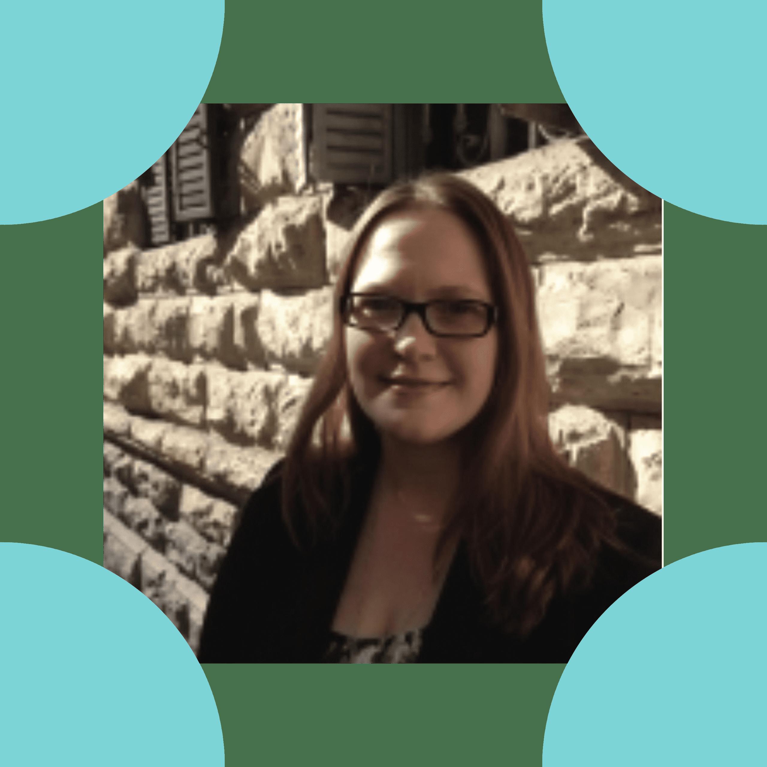 Image is a headshot of Elizabeth Aparicio, set inside the four corners of the ReSHAPING logo.