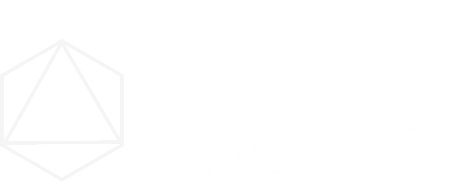 Logo for Activate, in white outline with transparent background