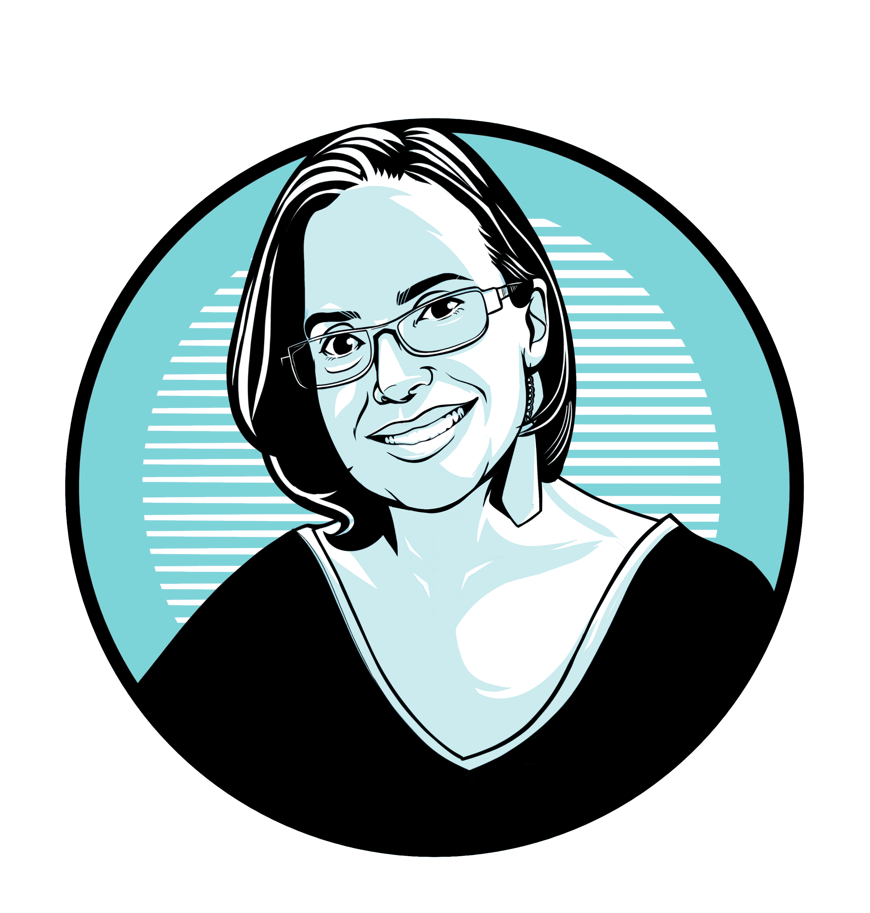 Caricature of Genevieve Martinez-Garcia